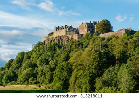 Stirling Castle from the West in late afternoon autumn sunshine. - stock photo