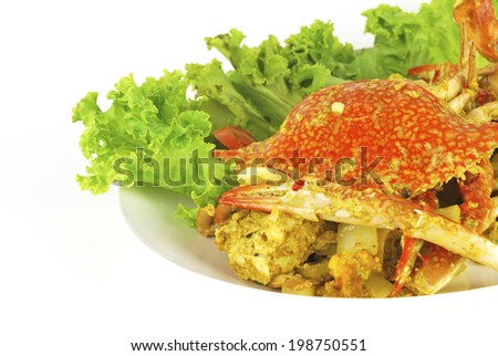 Stirred Fried Crab with Garlic, Pepper, Curry Powder. - stock photo