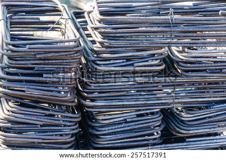 Stirrups for beam in construction - stock photo