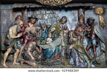 STITAR, CROATIA - AUGUST 27: Nativity Scene, altarpiece in the church of Saint Matthew in Stitar, Croatia on August 27, 2015
