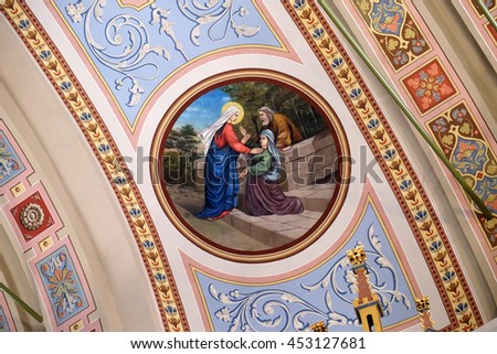 STITAR, CROATIA - AUGUST 27: Visitation of the Virgin Mary, fresco in the church of Saint Matthew in Stitar, Croatia on August 27, 2015 - stock photo