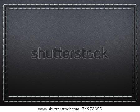 Stitched frame on black leather background. Large resolution - stock photo