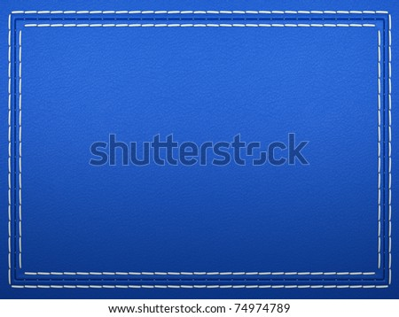 Stitched frame on blue leather background. Large resolution - stock photo