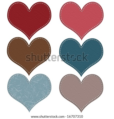 Stitched Hearts - stock photo