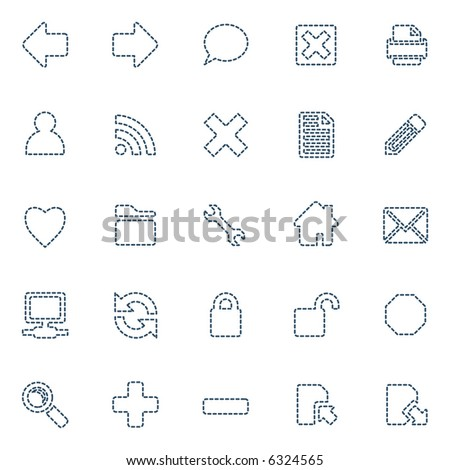 Stitched icons, set of 25 in blue - stock photo