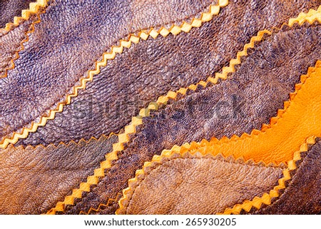Stitched leather pieces