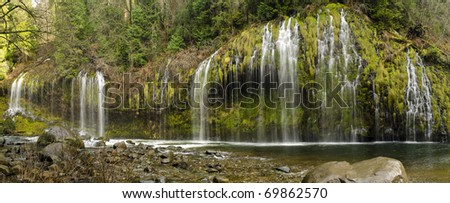 Stitched panorama of Mossbrae Falls in Northern California - stock photo