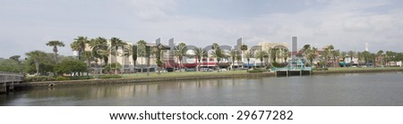 stitched panoramic of South Beach Street in Daytona Beach, Florida - stock photo