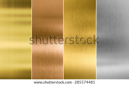 Stitched silver, gold and bronze metal texture backgrounds - stock photo