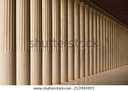 Stoa of Attalos marble colonnade and ceiling - stock photo