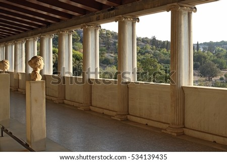 Stoa of Attalos (portico) in Ancient Agora, Athens, Greece