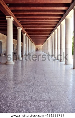 Stoa of Attalus without people, Athens, Greece.
