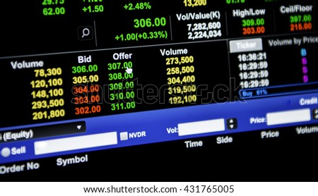 Stock bid and offer financial data on a monitor, Finance data concept.
