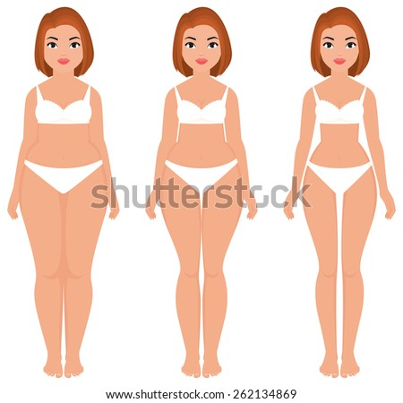 Stock cartoon illustration fat to slim women weight loss transformation front/Fat to slim woman weight loss transformation front/Stock cartoon illustration - stock photo
