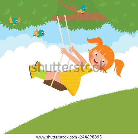 Stock cartoon illustration of a girl on a swing in the summer/Girl on a swing/Stock cartoon illustration