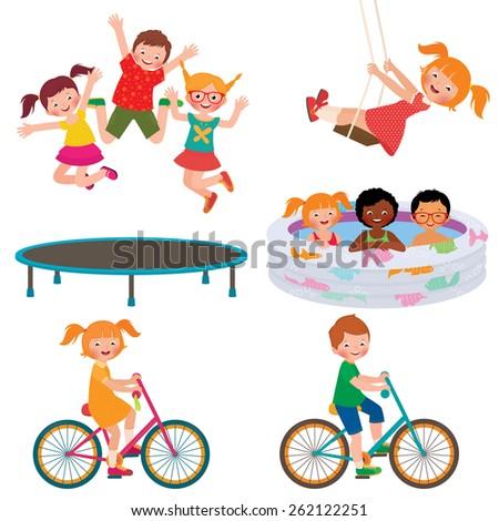 Stock cartoon illustration of summer children activities/Summer children activities/Stock cartoon illustration - stock photo
