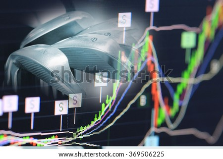 stock chart and golf club, business competition games and golf games concept, leadership sport