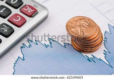 Stock chart and money. - stock photo