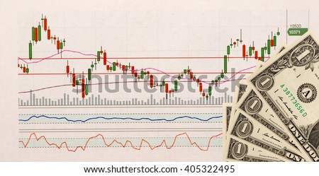 stock chart and US money as background. view from above . - stock photo