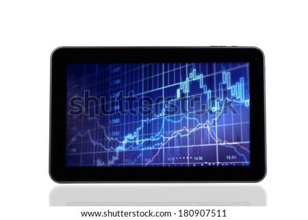 Stock Chart Diagram on Digital tablet PC - stock photo