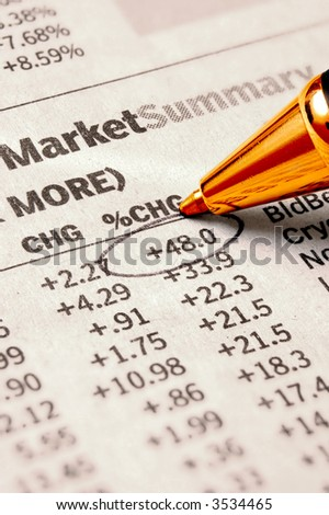 Stock Chart - important stock quote marked with pen - stock photo