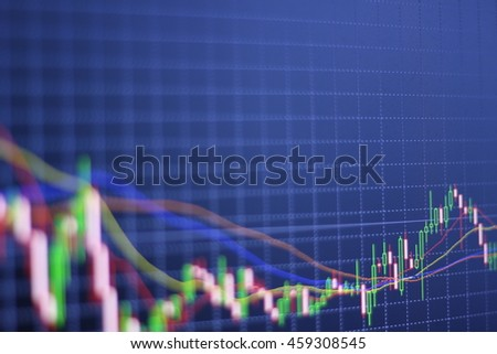 Stock chart on the screen. Market Analyze.Bar graphs, diagrams, financial figures. Forex.