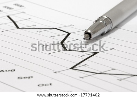 Stock chart with high and low figure bars - stock photo