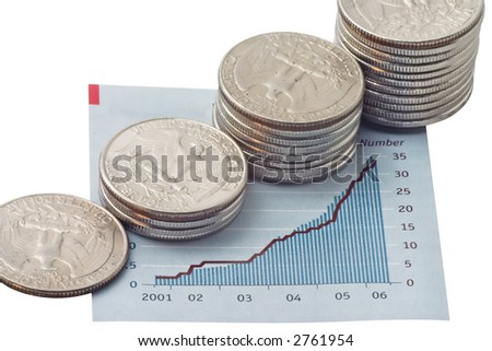 stock chart with stacks of US coins
