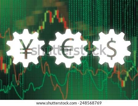 stock charts and gears with money symbol on virtual screen - stock photo
