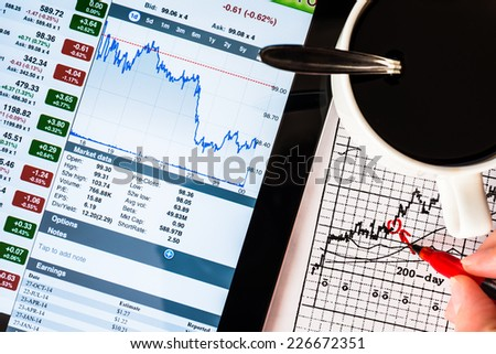 Stock Data Analysis for coffee cup, mark the red by hand - stock photo