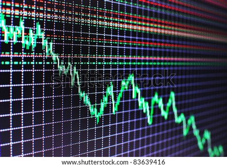 Stock diagram on the screen - stock photo