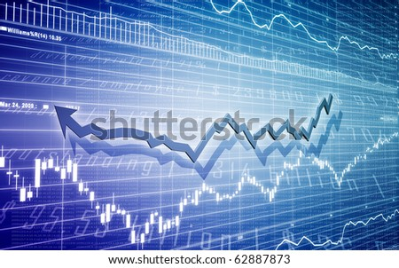 Stock Diagram with Bar Chart - stock photo