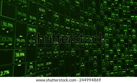 Stock display panel with random digits and indexes - stock photo