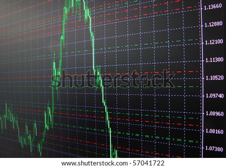 Stock doagram on the screen - stock photo