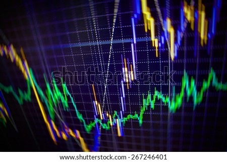 Stock exchange chart graph. Finance business background. Abstract stock market diagram candlebars trade. Black, purple, green, blue color.  - stock photo