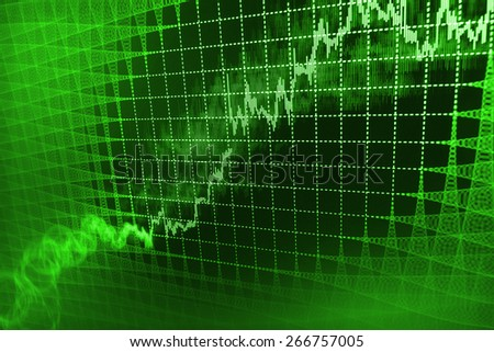 Stock exchange chart graph. Finance business background. Abstract stock market diagram. Green color.  - stock photo