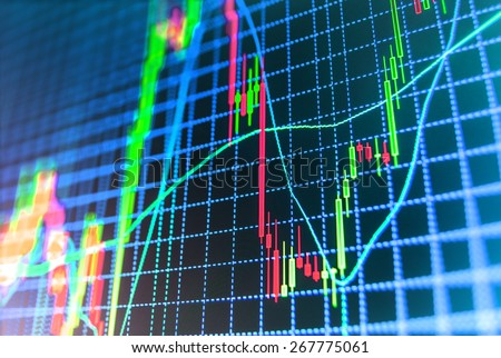Stock exchange chart graph. Finance business background. Abstract stock martet diagram candlebars trade. Green, blue color.  - stock photo