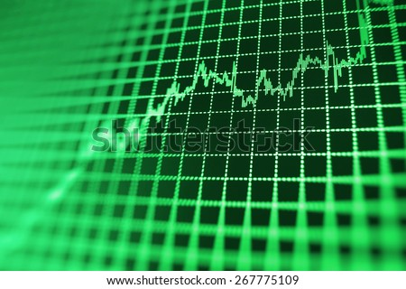 Stock exchange chart graph. Finance business background. Abstract stock martet diagram candlebars trade. Green color.  - stock photo