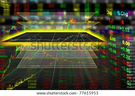 stock exchange graph background - stock photo
