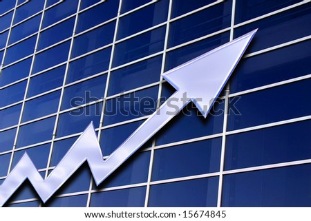 stock exchange  graph on a blue glass background - stock photo