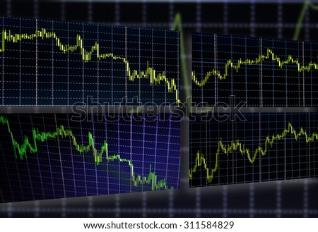Stock exchange trade chart bar candles macro close-up. Display of Stock market quotes. Background with stock diagram on monitor.