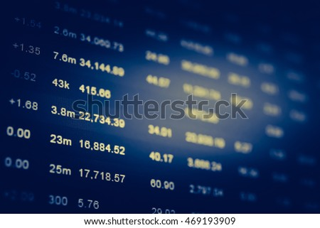 Stock finance business diagram on the screen