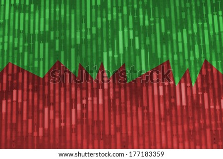 Stock finance trade screen monitor with growth and loss illustration. - stock photo