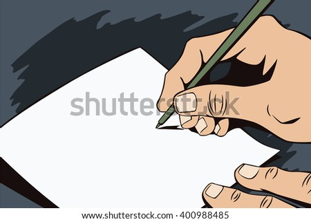 Stock illustration. Hands of people in the style of pop art and old comics. Blank sheet of paper for your message in the man's hand. - stock photo