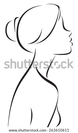 Stock illustration line drawing of woman profile/Line drawing of women profile/Stock illustration