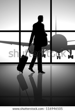 Stock illustration of a business man carrying a luggage at the airport - stock photo