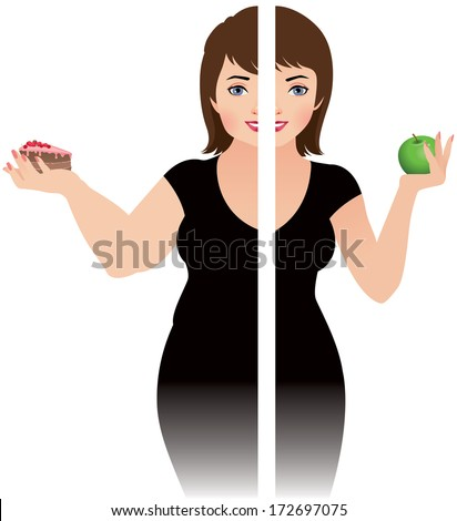 Stock illustration of a girl before and after diet/Before and after a diet/Illustration of the result of a healthy diet - stock photo