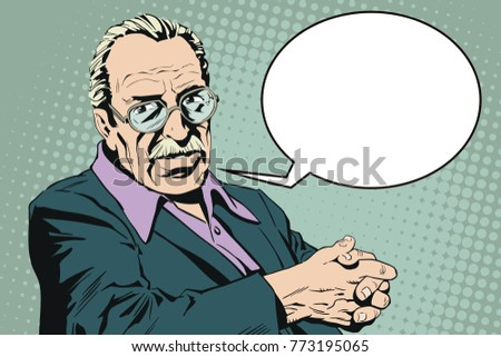 Stock illustration. People in retro style pop art and vintage advertising. Confident man. Elderly man with glasses.