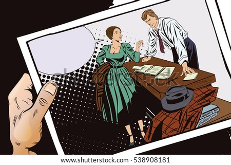 Stock illustration. People in retro style pop art and vintage advertising. Private detective and girl. Hand with photo.