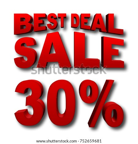 Stock Illustration - Red 30 Percentage Off, Red Best Deal, Red Sale, Bold Red Text, Isolated against the White Background, 3D I